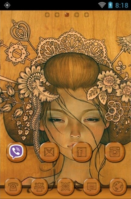 Girl Face Drawing android theme home screen