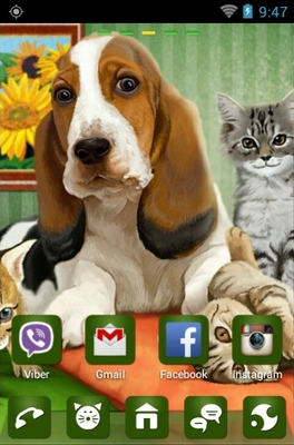 Dog Cats Release android theme home screen