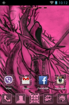 Pink Emo android theme home screen
