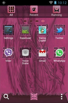 Pink Emo android theme application menu