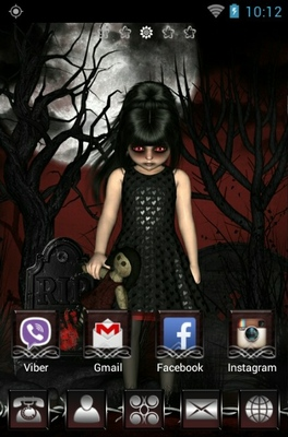 Dark Little Girl android theme home screen