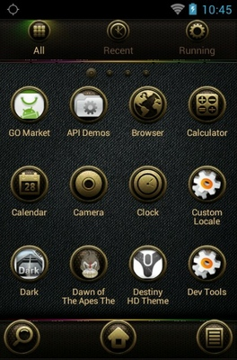 DC 100 android theme application menu