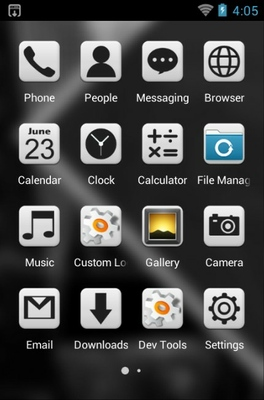 Black & White android theme application menu
