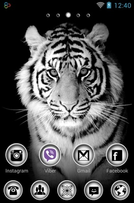 White Tiger android theme home screen