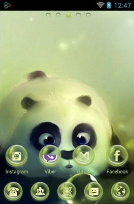 Panda And Bubbles android theme home screen