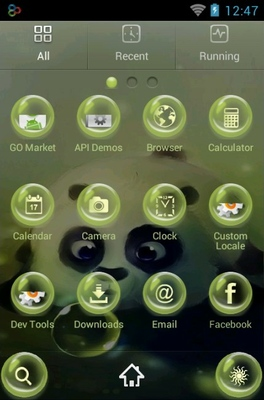 Panda And Bubbles android theme application menu