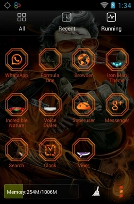 Rock Zombie android theme application menu