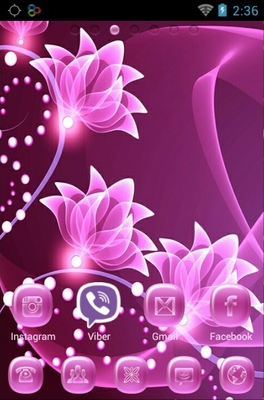 Pink Flower android theme home screen