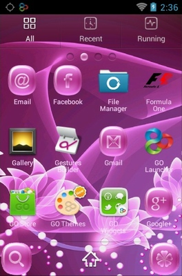 Pink Flower android theme application menu