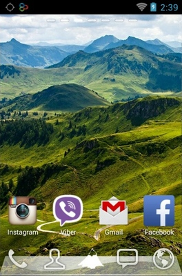 Mountains android theme home screen