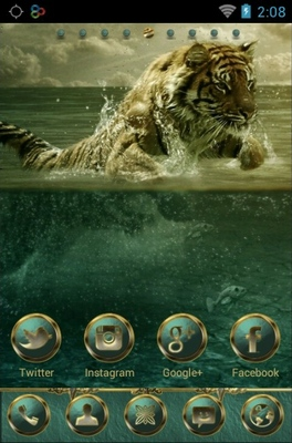 Tiger Jumping android theme home screen