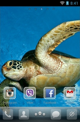 Sea Turtle android theme home screen