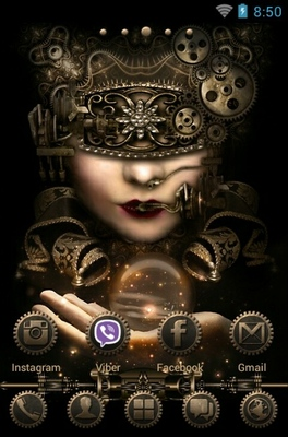 Steampunk android theme home screen
