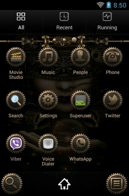Steampunk android theme application menu
