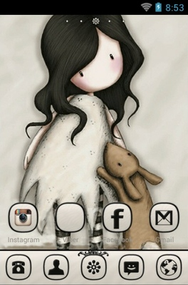 Love You Little Rabbit android theme home screen