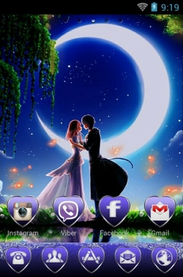 Romantic Moonlight android theme home screen