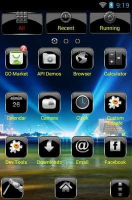 Tech City android theme application menu