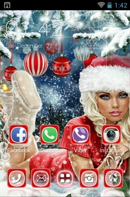 Merry Christmas android theme home screen