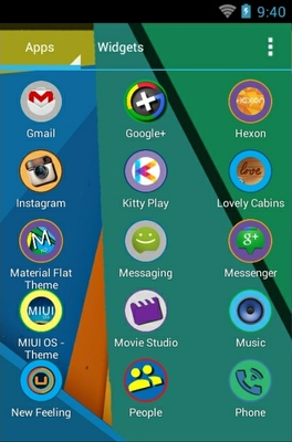 Material Flat android theme application menu