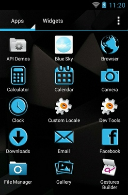 Trickster android theme application menu