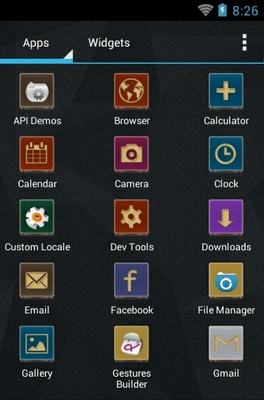Toros Squire android theme application menu