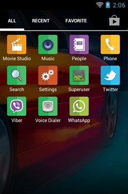 Car android theme application menu
