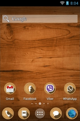 Wood android theme home screen