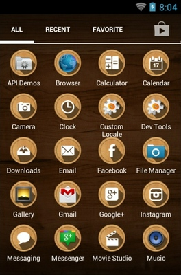 Wood android theme application menu