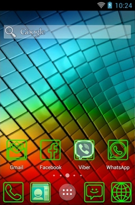 Fluo Green android theme home screen
