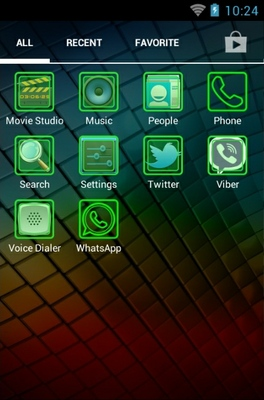 Fluo Green android theme application menu