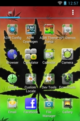 Ganja android theme application menu