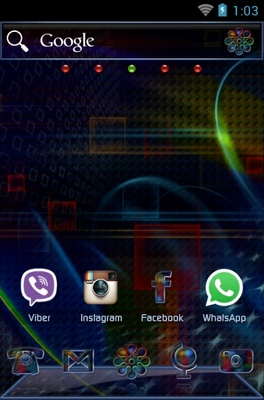 Techno Rainbow android theme home screen