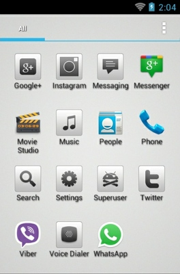 Aerish GTX android theme application menu