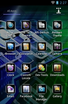 Tech android theme application menu