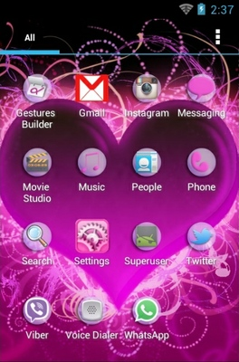 Hearts android theme application menu