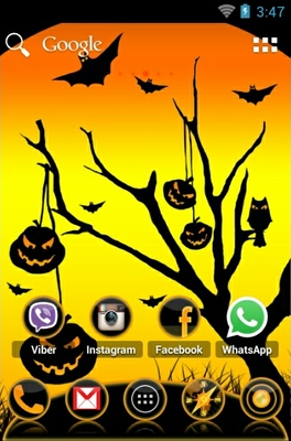 Cool Halloween android theme home screen