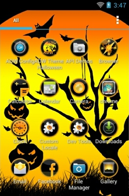 Cool Halloween android theme application menu