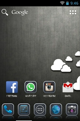 Grey android theme home screen