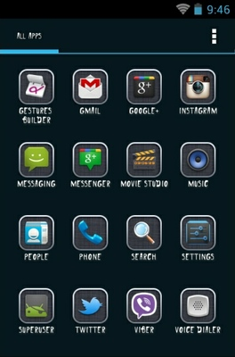 Grey android theme application menu