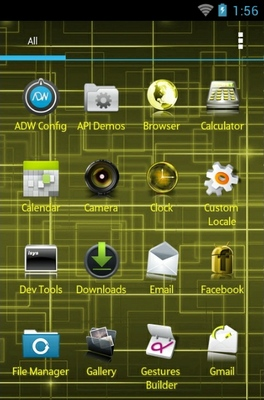 Yellow android theme application menu