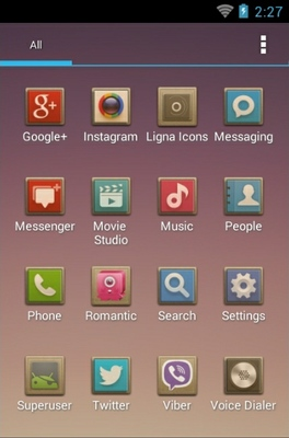 Ligna android theme application menu