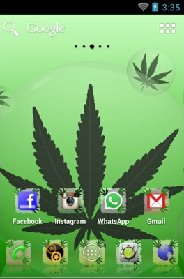 Green Ganja android theme home screen
