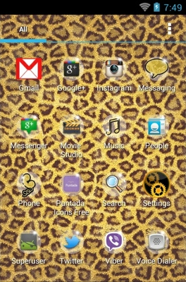 Leopard android theme application menu