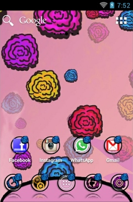 Flowers android theme home screen