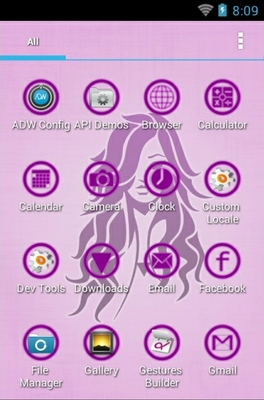 Pink Diva android theme application menu