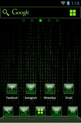 Mean Green android theme home screen