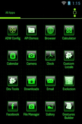 Mean Green android theme application menu