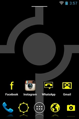 Minimalist Yellow android theme home screen