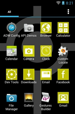 Simple Yellow android theme application menu