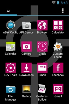 Simple Pink android theme application menu